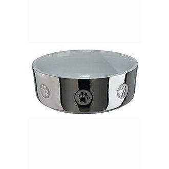 PSI - Miska keramická pes stříbrná s tlapkou 0,8l 15cm TR*