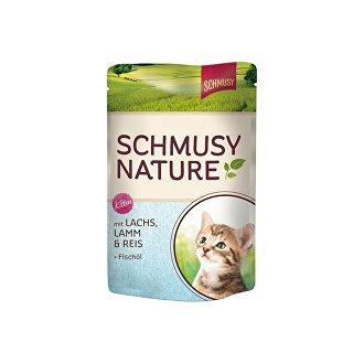 KOČKY - Schmusy Cat Nature Flakes kapsa losos+rýže+šťáva 100g