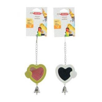 PTÁCI - Hračka pro ptáky zrcátko srdce plast Zolux