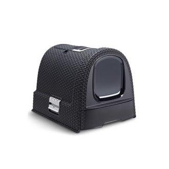 KOČKY - Curver WC kočka kryté domek Rattan 39x39x51cm antracit