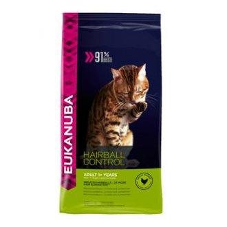 KOČKY - Eukanuba Cat Adult Hairball Control Chicken 4kg
