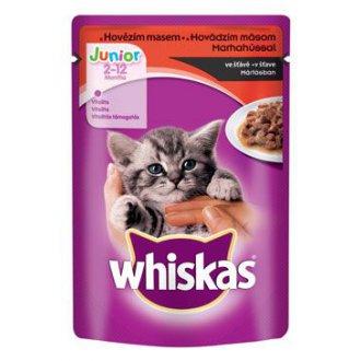 KOČKY - Whiskas kapsa Junior s hovězím masem ve šťávě 100g