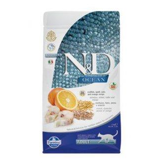 KOČKY - N&D OCEAN LG CAT Adult Codfish & Orange 1,5kg
