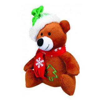 VÁNOČNÍ ZBOŽÍ - Vánoční Hračka pes Medvěd se šálou plyš 20cm TR 1ks