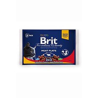 KOČKY - Brit Premium Cat kapsa Meat Plate 400g (4x100g)