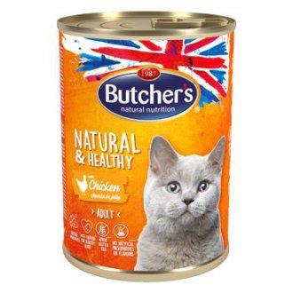 KOČKY - Butcher´s Cat Natur.&Healthy kousky kuřete v želé 400g