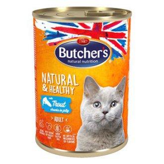 KOČKY - Butcher´s Cat Natur.&Healthy kousky pstruha v želé400g