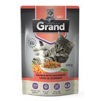 KOČKY - GRAND kaps. kočka deluxe 100% losos se zel.100g