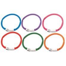 Obojek DOG FANTASY světelný USB červený 45 cm 1ks