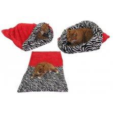 Spací pytel 3v1 XL pro kočky č.6 červená/zebra