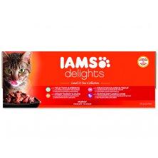 Kapsičky IAMS Cat výběr z mořských a suchozemských mas v želé multipack (4080g)