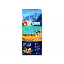 ONTARIO Dog Adult Medium Fish & Rice (12kg)