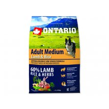 ONTARIO Dog Adult Medium Lamb & Rice (2,25kg)