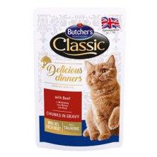 Butcher´s Cat Class.Delic.Dinn. hovězí kapsa 100g