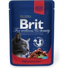 Kap.Brit Cat Prem. Pouches hovezi+hrasek 100g