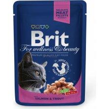 Kap.Brit Cat Prem. Pouches losos+pstruh 100g