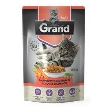 GRAND kaps. kočka deluxe 100% losos se zel.100g