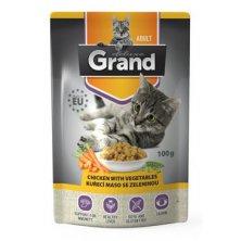 GRAND kaps. kočka deluxe 100% kuřecí se zel.100g