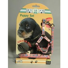 Postroj štěně nylon+vodítko 15-30cm/130cm růžové KAR