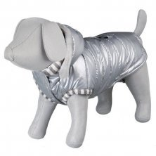 AKCE - Lesklá bundička DOG PRINCE Stříbrná M 45cm